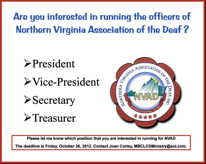 Run for Office: Northern Virginia Association of the Deaf
